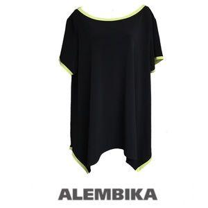 Alembika Black Green High Low knit tunic Plus Size